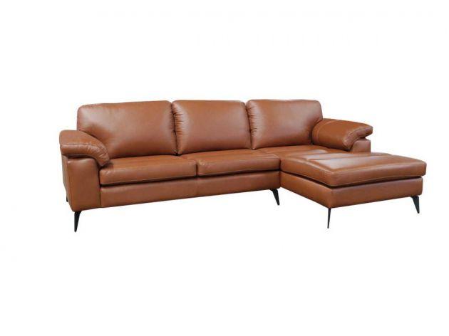 Sofá de Couro Asti 3 lugares com Chaise - Mempra