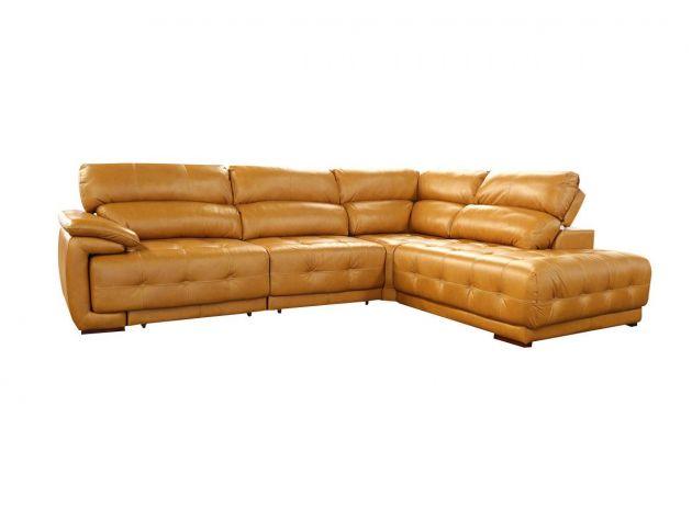 Sofá Retrátil e Reclinável de Couro Filipinas Canto com Chaise 1,26 m - Caramelo - Mempra