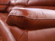 Sofá Retrátil e Reclinável de Couro Filipinas Canto com Chaise 1,26 m - Conhaque com Brilho - Mempra