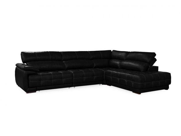 Sofá Retrátil e Reclinável de Couro Filipinas Canto com Chaise 1,46 m - Mempra